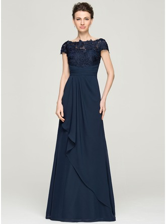 Off-the-Shoulder Floor-Length Chiffon Lace Evening Dress With Cascading Ruffles