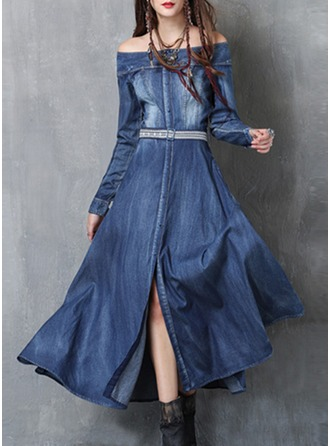 Denim With Embroidery/Crumple Maxi Dress