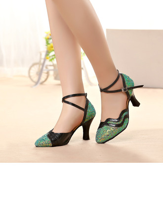 Women's Sparkling Glitter Heels Sandals Ballroom With Hollow-out Dance Shoes