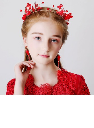 With Flower Headbands/Earclip (Set of 2)
