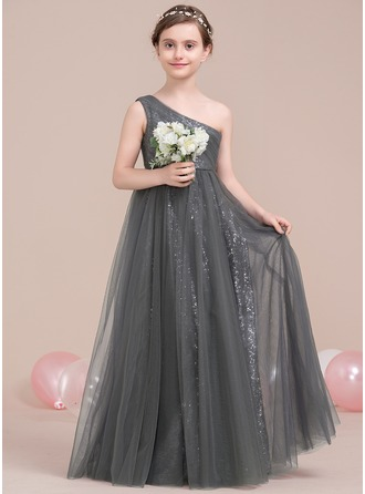 One-Shoulder Floor-Length Tulle Sequined Junior Bridesmaid Dress With Ruffle