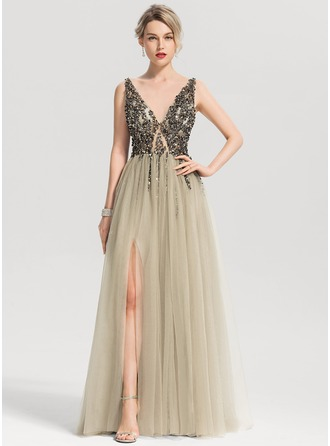 V-neck Floor-Length Tulle Prom Dresses With Beading Sequins Split Front