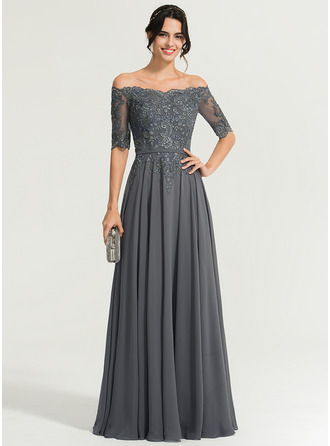 Off-the-Shoulder Floor-Length Chiffon Evening Dress With Beading