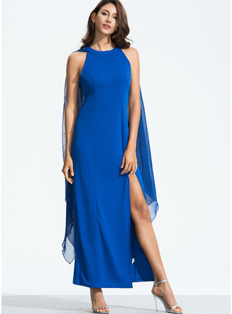 Chiffon With Resin solid color Maxi Dress