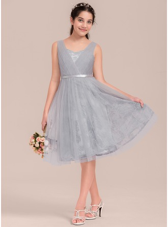 Knee-length Flower Girl Dress - Tulle Charmeuse Lace Sleeveless Sweetheart