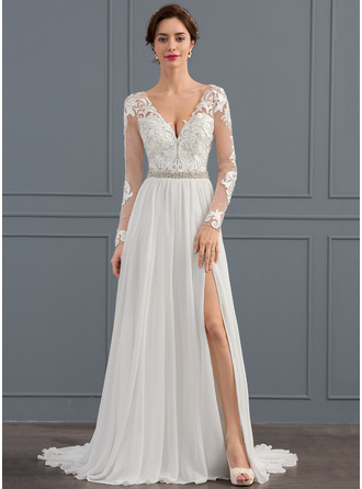 A-Line/Princess V-neck Sweep Train Chiffon Wedding Dress With Beading Sequins Split Front