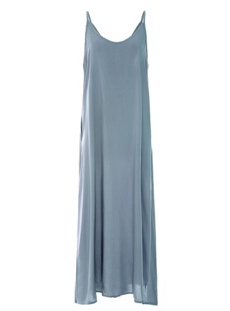 Cotton With Resin solid color Maxi Dress