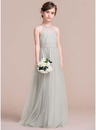 Floor-length Flower Girl Dress - Tulle Sleeveless Scoop Neck With Ruffles