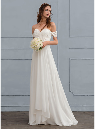 Off-the-Shoulder Sweep Train Chiffon Wedding Dress With Lace Beading Flower(s)