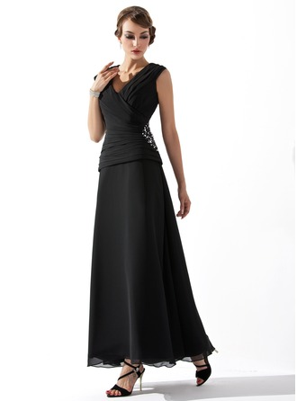 V-neck Ankle-Length Chiffon Mother of the Bride Dress With Ruffle Beading