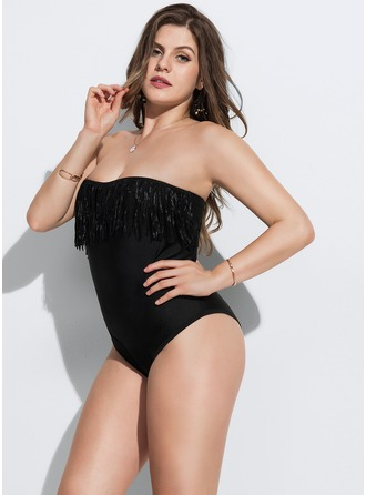 Sexy Solid Color Chinlon Nylon One-piece Swimsuit