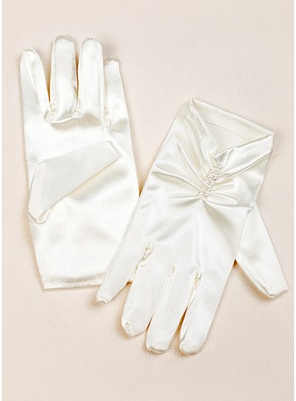 Elastic Satin Wrist Length Flower Girl Gloves