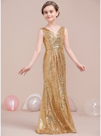 V-neck Floor-Length Sequined Junior Bridesmaid Dress With Ruffle