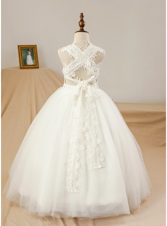 Floor-length Flower Girl Dress - Satin Tulle Sleeveless Square Neckline (Petticoat NOT included)