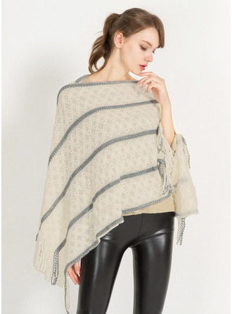 Striped Oversized/simple Cashmere Poncho
