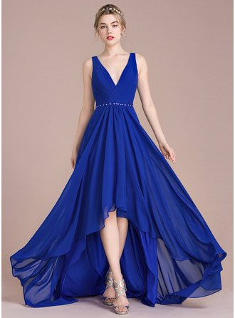 V-neck Asymmetrical Chiffon Prom Dresses With Ruffle Beading Sequins