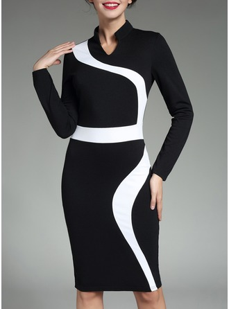 Cotton Blends With Stitching/Color-block Knee Length Dress
