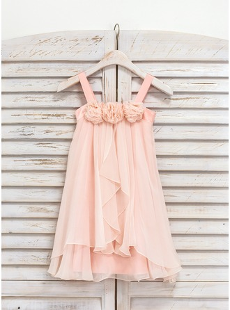 Knee-length Flower Girl Dress - Chiffon Sleeveless Straps With Ruffles Flower(s)