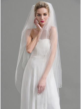 Two-tier Cut Edge Waltz Bridal Veils With Rhinestones