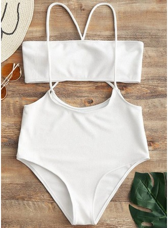 Sexy Solid Color Triangle Polyester Spandex Bikinis Swimsuit