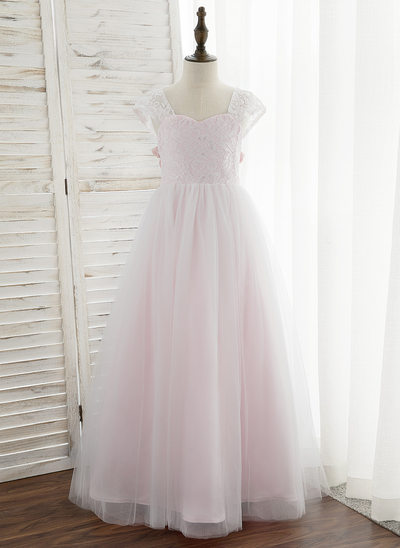 Ball-Gown/Princess Floor-length Flower Girl Dress - Tulle/Lace Sleeveless Sweetheart