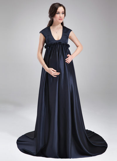 Empire Scoop Neck Sweep Train Charmeuse Maternity Bridesmaid Dress With Ruffle