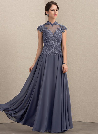 A-Line/Princess High Neck Floor-Length Chiffon Lace Mother of the Bride Dress With Sequins