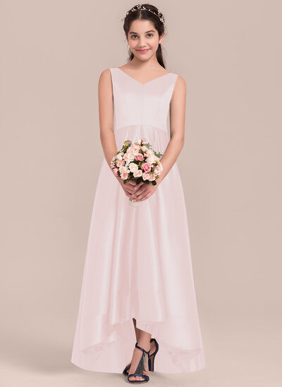 A-Line/Princess V-neck Asymmetrical Satin Junior Bridesmaid Dress