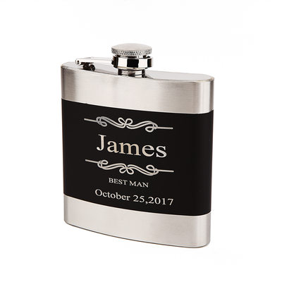 Groomsmen Gifts - Personalized Classic Vintage Stainless Steel Flask