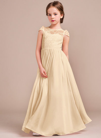 A-Line/Princess Scoop Neck Floor-Length Chiffon Lace Junior Bridesmaid Dress