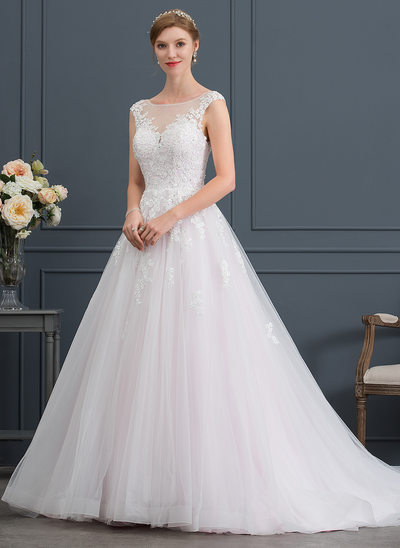 Ball-Gown/Princess Illusion Court Train Tulle Wedding Dress With Beading Sequins