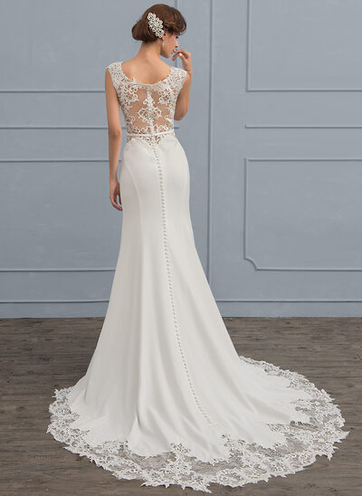 Trumpet/Mermaid Scoop Neck Court Train Stretch Crepe Wedding Dress