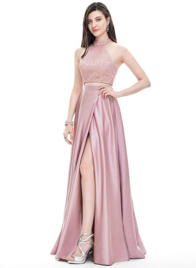 A-Line/Princess Scoop Neck High Neck Floor-Length Satin Prom Dresses With Split Front