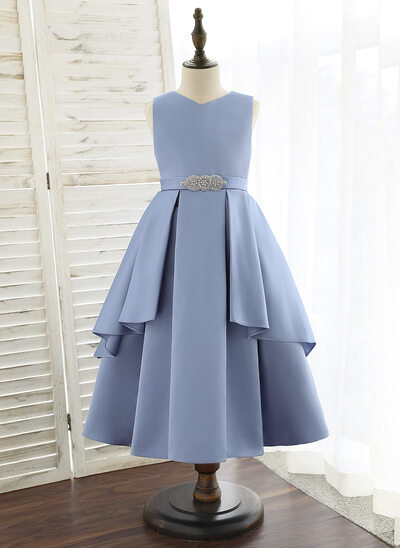 A-Line Tea-length Flower Girl Dress - Satin Sleeveless V-neck With Beading