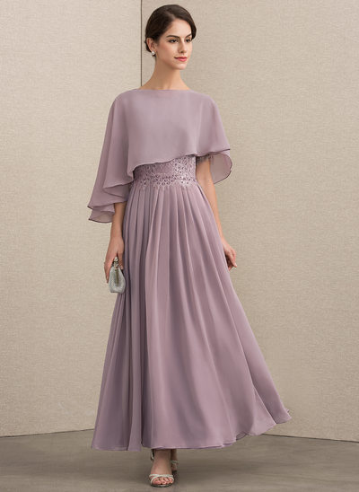 A-Line Scoop Neck Ankle-Length Chiffon Lace Mother of the Bride Dress With Beading Sequins