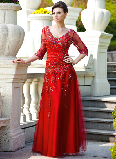 A-Line/Princess V-neck Floor-Length Tulle Mother of the Bride Dress With Lace Beading Sequins