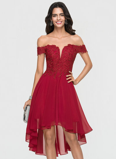 A-Line/Princess Off-the-Shoulder Asymmetrical Chiffon Cocktail Dress With Lace Beading