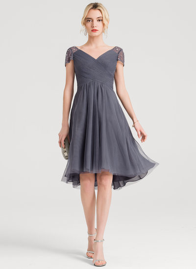 A-Line/Princess V-neck Asymmetrical Tulle Cocktail Dress With Ruffle Beading