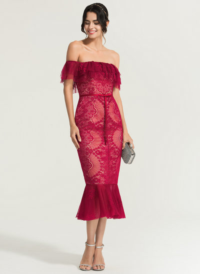 Trumpet/Mermaid Off-the-Shoulder Tea-Length Lace Cocktail Dress