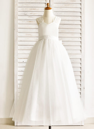 A-Line/Princess Floor-length Flower Girl Dress - Lace/Cotton Sleeveless Straps With Bow(s)