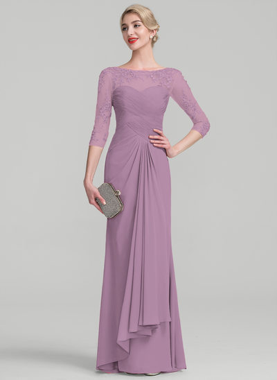 bdf924cd5e A-Line/Princess Scoop Neck Floor-Length Chiffon Lace Evening Dress With  Beading