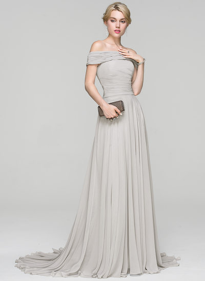 A-Line/Princess Off-the-Shoulder Court Train Chiffon Prom Dresses With Ruffle