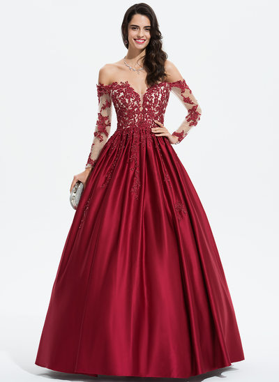 Ball-Gown/Princess Off-the-Shoulder Floor-Length Satin Evening Dress With Beading Sequins