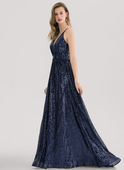 A-Line/Princess V-neck Sweep Train Sequined Prom Dresses With Lace Sequins