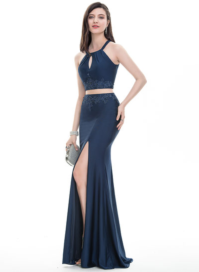 Sheath/Column Scoop Neck Floor-Length Jersey Prom Dresses With Lace Beading Sequins Split Front