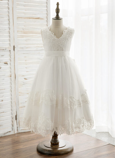 A-Line/Princess Tea-length Flower Girl Dress - Tulle/Lace Sleeveless V-neck With V Back