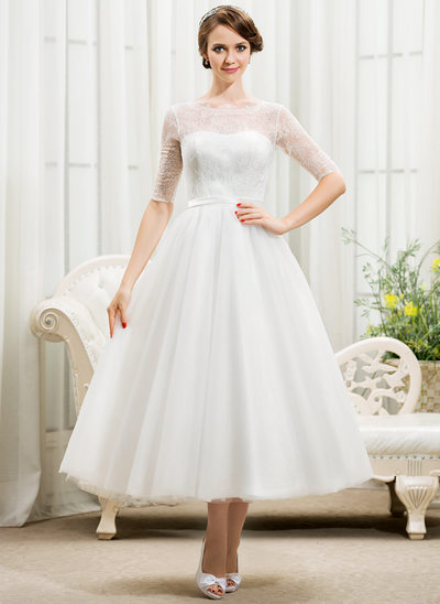 Ball-Gown Scoop Neck Tea-Length Tulle Lace Wedding Dress With Bow(s)
