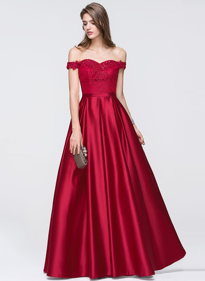 A-Line/Princess Off-the-Shoulder Floor-Length Satin Prom Dresses With Beading Sequins