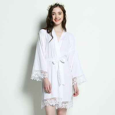 Bride Gifts - Classic Solid Color Elegant Cotton Robe