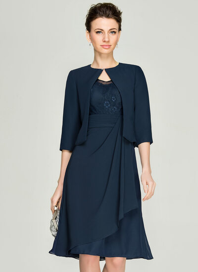A-Line/Princess V-neck Knee-Length Chiffon Lace Mother of the Bride Dress With Cascading Ruffles
